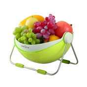 Lifewit Fruit Bowl with 360 Rotable Lid, Fruit Basket with Double Layer for Kitchen to Drain, ABS Plastic, Green