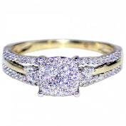 Diamond Engagement Ring Bridal 10K Gold 0.4cttww 7mm Wide