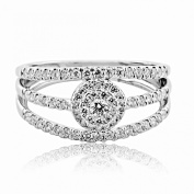 10K White Gold Bridal Wedding Ring 10mm Wide 1/2cttw Diamonds 3 in 1 Style