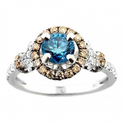 1.2ctw Diamond Bridal Ring Blue Diamond, Cognac and White Sides 14K White Gold