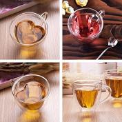 Kicode 240ml Heart Love Shaped Double Wall Layer Clear Transparent Glass Tea Cup Lover Coffee Mug Gift