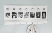 Wall Mounted Coat Hooks/ coat rack Silver Hearts White photo frames