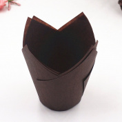 Zantec Baking Cups Anti-Oil Flame Shape Cupcake Wrapper for Muffin Mousse Kitchen Home Bakeware 50PCS Chocolate Colour