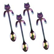 4 Pcs Coffee Spoon Mini Cat Hugging Kitty Spoon,Tea Soup Sugar Dessert Appetiser Seasoning Bistro Spoon,Hanging Cup Spoon by Wetrys
