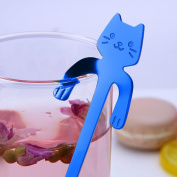 DIKEWANG Cute Cat Spoon Long Handle Spoons Flatware Coffee Drinking Tools Kitchen Gadget