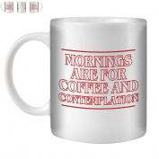 STUFF4 Tea/Coffee Mug/Cup 350ml/Red/Mornings Coffee Contemplation/White Ceramic/ST10