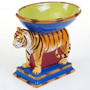 Imperial Bengal Tiger Figural 3D Ceramic Compote Candy Bowl 17cm L