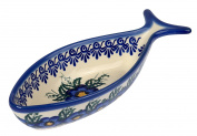 Traditional Polish Pottery, Decorative Fish-shaped Bowl 220ml, Boleslawiec Style Pattern, M.401.PANSY
