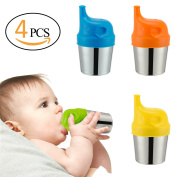 Biubee 4PCS Baby Stainless Steel Cups with 4 PCS Silicone Sippy Lids-Double Wall Insulated Cups & BPA FREE Silicone Lids for Home & Outdoor Activities