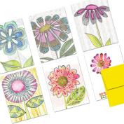 72 Note Cards - Watercolour Flowers - Blank Cards - Yellow Envelopes Included
