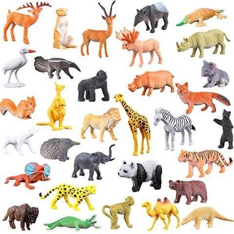 TriEcoWorld Animals Figure, 68pcs Mini Jungle Animals Toys