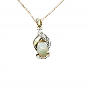 9ct Yellow Gold Real Opal and Diamond Tear Drop Pendant with 9ct Chain - October Birthstone