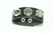 Noosa Style Black Bracelet with 3 Beautiful Snap Buttons & Gift Box ~ No 3 ~ by Libby's Market Place