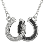 Lovely Double Horseshoe White And Black Crystal Hoof Pendant Necklace For Women Girls Gift Jewellery