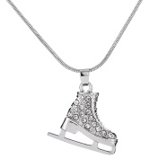 3D Adorable Crystal Ice Skate Charm Pendant Necklace For Girls women