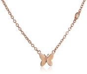 """Shy By Sydney Evan Sterling Silver Rose Gold Plated """"Butterfly"""" Necklace with Diamond Bezel of 41.275cm"""