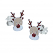 Sterling Silver Reindeer Earrings - Red Glitter - Christmas
