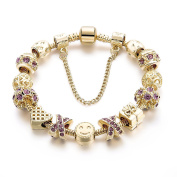 Long Way Smile Emoji Beads Gold Plated Crystal Hollow Heart Charm Bracelet for Girls Gift