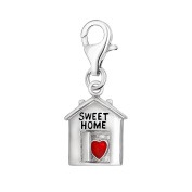 Quiges 925 Sterling Silver Red Enamel 3D House Sweet Home and Heart Clip On Charm Pendant