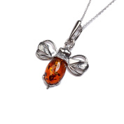 Classic Baltic Cognac Amber and Silver Miniature Bumble Bee Pendant on a 42cm Silver Chain