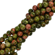 MagiDeal Natural Unakite Jasper Round Gemstone Loose Beads Strand 15.5 inch/10 mm