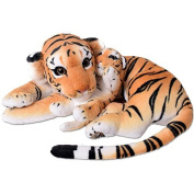 te-trend XL Tiger with Tiger Baby Big Cat Stuffed Toy Plush 60cm Stuffed Toy Brown