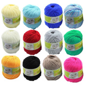 12 Skeins 50g Assorted Colours Baby Skein Knitting Cashmere Fibre Wool Yarn Ball Yarns