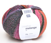 Rico Creative chunky wool blend, 02 - magenta/green, wool blend with colour gradient, needle size 3.5 to 4 mm, for knitting and crocheting