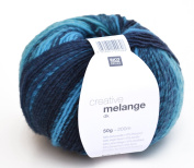 Rico-Design Creative Melange dark colour wool 04 – aqua mix – wool with colour gradient, needle size 3.5 – 4 mm, for knitting & crocheting