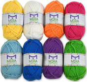 Premium yarn pack - 8 acrylic rainbow colour yarn skeins - excellent for small and kids yarn projects, crafts, knitting, crochet and much more - 10 bonuses with each pack - resealable bag