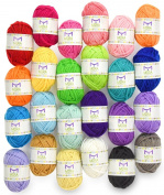 Premium value yarn pack - 24 acrylic yarn skeins - assorted colours - perfect for any crochet and knitting mini project - resealable bag - 10 bonuses with each pack
