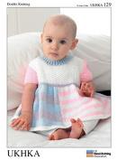 UKHKA Baby Dress, Cardigan & Hat Knitting Pattern No 129 DK - each