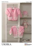 UKHKA Baby Cardigans & Hat Knitting Pattern No 104 DK - each