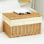 Handmade baskets Storage Box Large Covered Cover Rattan Finishing Box Drawer Clothes Toy Storage Box Willow Basket Storage Basket