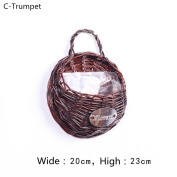 Hand Made Decorative Willow woven baskets, wall hanging basket series Plant Artificial Flower Vine for Home Garden Wall and Wedding Decoration,20*23cm