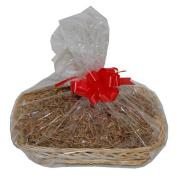 Medium Manilla Wicker Christmas Hamper Gift Wrap DIY Kit Shredded Paper Ribbon Bow 300mm x 230mm x 50mm