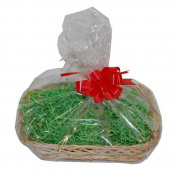 Medium Green Wicker Christmas Hamper Gift Wrap DIY Kit Shredded Paper Ribbon Bow 300mm x 230mm x 50mm
