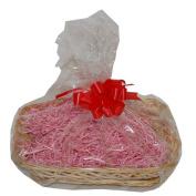 Medium Pink Wicker Christmas Hamper Gift Wrap DIY Kit Shredded Paper Ribbon Bow 300mm x 230mm x 50mm