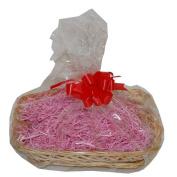 Small Fuschia Wicker Christmas Hamper Gift Wrap DIY Kit Shredded Paper Ribbon Bow 250mm x 200mm x 50mm