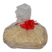 Small Cream Wicker Christmas Hamper Gift Wrap DIY Kit Shredded Paper Ribbon Bow 250mm x 200mm x 50mm