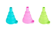 Vikenner 3 Pcs Silicone Collapsible Funnel Foldable Heat Resistant Mini Hopper Filter Funnel Kitchen Tool for Liquid and Powder Transfe - 9.5cm