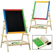 Unibos Kids 2 In 1 Black / White Wooden Easel Chalk Drawing Board For Child Educational