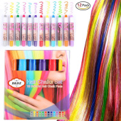 Hair Chalk,12 Colours Metallic Glitter & Colour Temporary Pens Non-Toxic Hair Chalk Pen Set Washes Out Easily With No Mess for All Hair