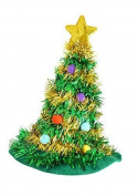 Adult Christmas Tree Hat With Star Novelty Fun Xmas Party Headwear