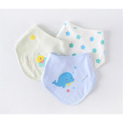 MXJ61 Baby Knitting Triangle Towel Bib Saliva Cloth Cotton Adjustable Snap Button Neonatal Supplies 3 Pcs / Set