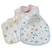 MXJ61 Waterproof Bib U-type Baby Saliva Cloth Cotton Four Seasons Powder * 2 + Yellow * 2 + Blue * 2
