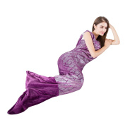LANGRIA Soft Flannel Full-Body Mermaid Tail Blanket with Halter Top for Adults All Season Snuggle Sleeping Life-like Little Mermaid Warm Throw Blanket for Bed Sofa Couch