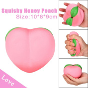 TAOtTAO 11CM Pink Honey Peach Cream Scented Squishy Slow Rising Squeeze Strap Kids Toy