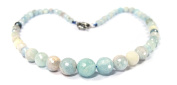 Beautiful Necklace made of Aquamarine Faceted Ball and Various Sizes