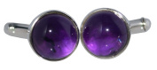 Sterling SILVER Purple Amethyst Cufflinks for Gents, Genuine Gemstones, Mens NEW Boxed Gifts